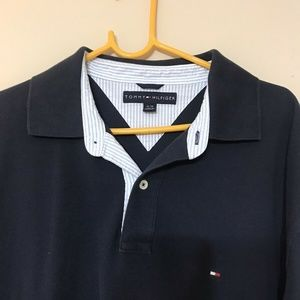 Tommy Hilfiger Polo Collared Navy T Shirt Mens XL